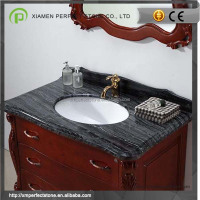 Black Wood Marble Bathroom Vanity With Marble Top