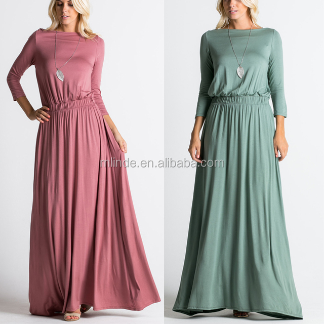 4273399e1fe7a Plus Size Women Clothing Fashion New Style Rayon Spandex Solid Jersey Boat  Neck Designs Maxi Muslim