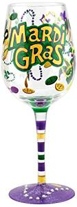 "Top Shelf Hand Painted""Marti Gras"" Wine Glass ; Unique Party Supplies ; Decorative Party Accessories ; Red or White Wine Glass for Him or Her"