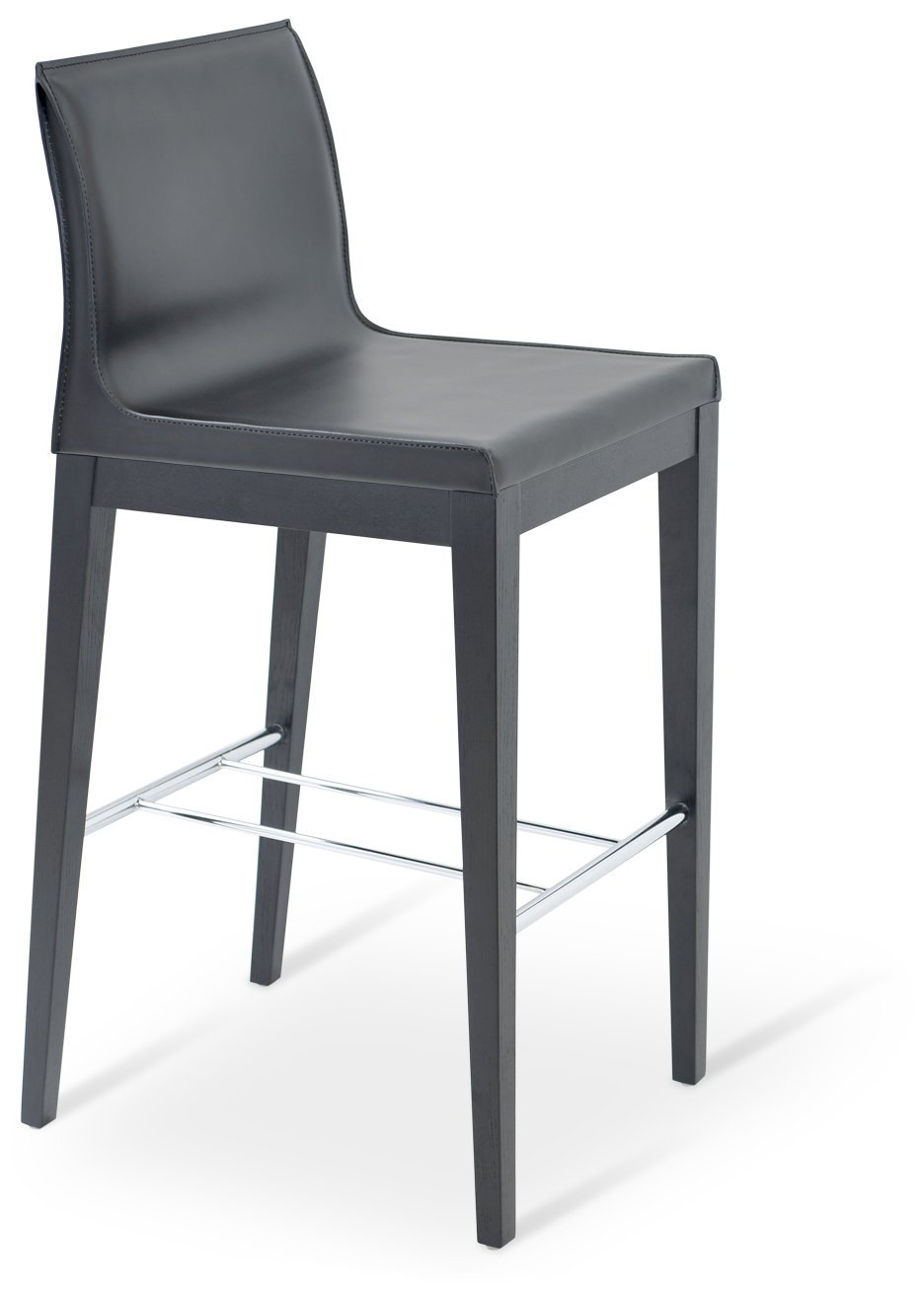 Soho Concept PoloW-SBW-DGBL Polo Wood Stools with Solid Beech Walnut Base, Dark Gray Bonded Leather
