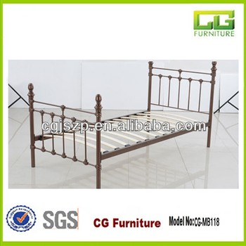 Double Metal Bedframe With Wooden Slats - Buy Metal Double Bed Frame ...