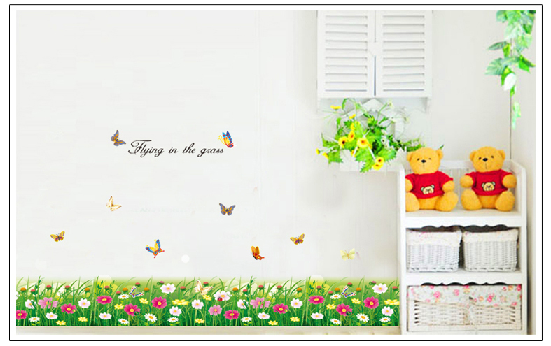Flower Wall Stickers,2015 New Arrival 70*50cm Flower Wall Stickers Removable Mural PVC Decal for Home Decor Fast Shipping