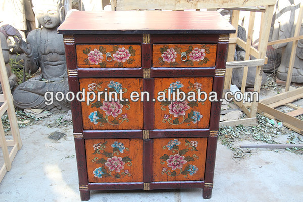 Antique Tibetan Reproduction Chinese Wooden Cabinet
