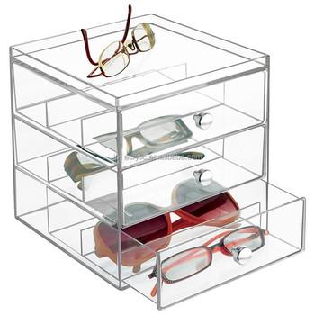 Clear Acrylic Make Up Watches Eyegwear Sunglass Organizer Holder Box With 3  Drawers