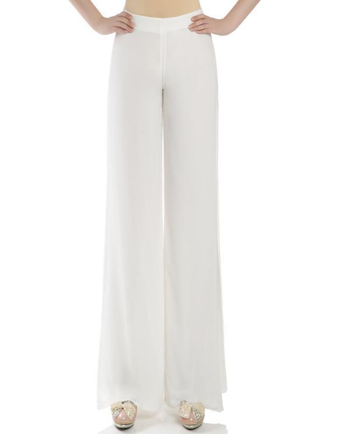 269ace26ffff Get Quotations · 2015 summer women slim wide leg side split Double chiffon  dress pants Ladies white high waist