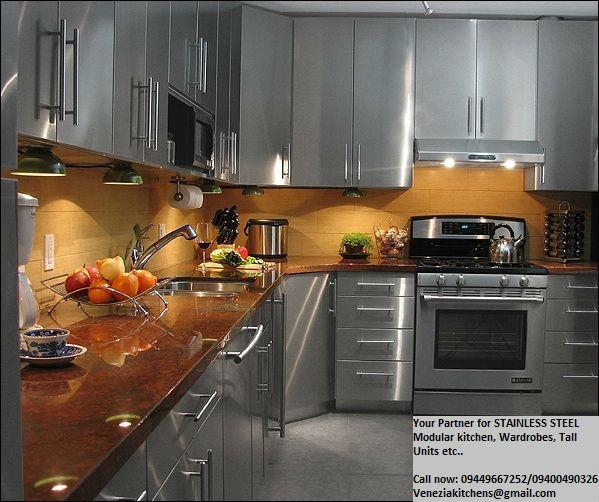 Stainless Steel Modular Kitchen Cabinets Chandigarh: Venezia Stainless Steel Modular Kitchens