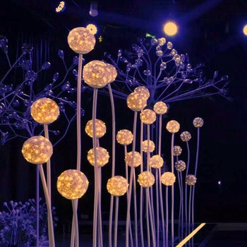Star Spring 5 balls LED vine ball walkway stand for wedding stage decoration