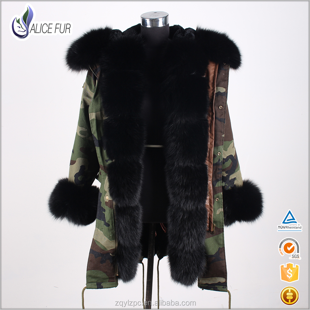 2017 Fashion parka jacket women winter ladies parka with fur hood trimming military parka