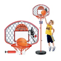 Height Adjustable Kids Mimi Basketball Hoop Rim Net Set Backboard Basket Ball 72-150cm
