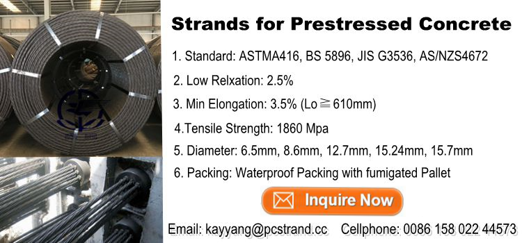 15.2 wire post tensioning precast concrete steel wire strand 1860Mpa