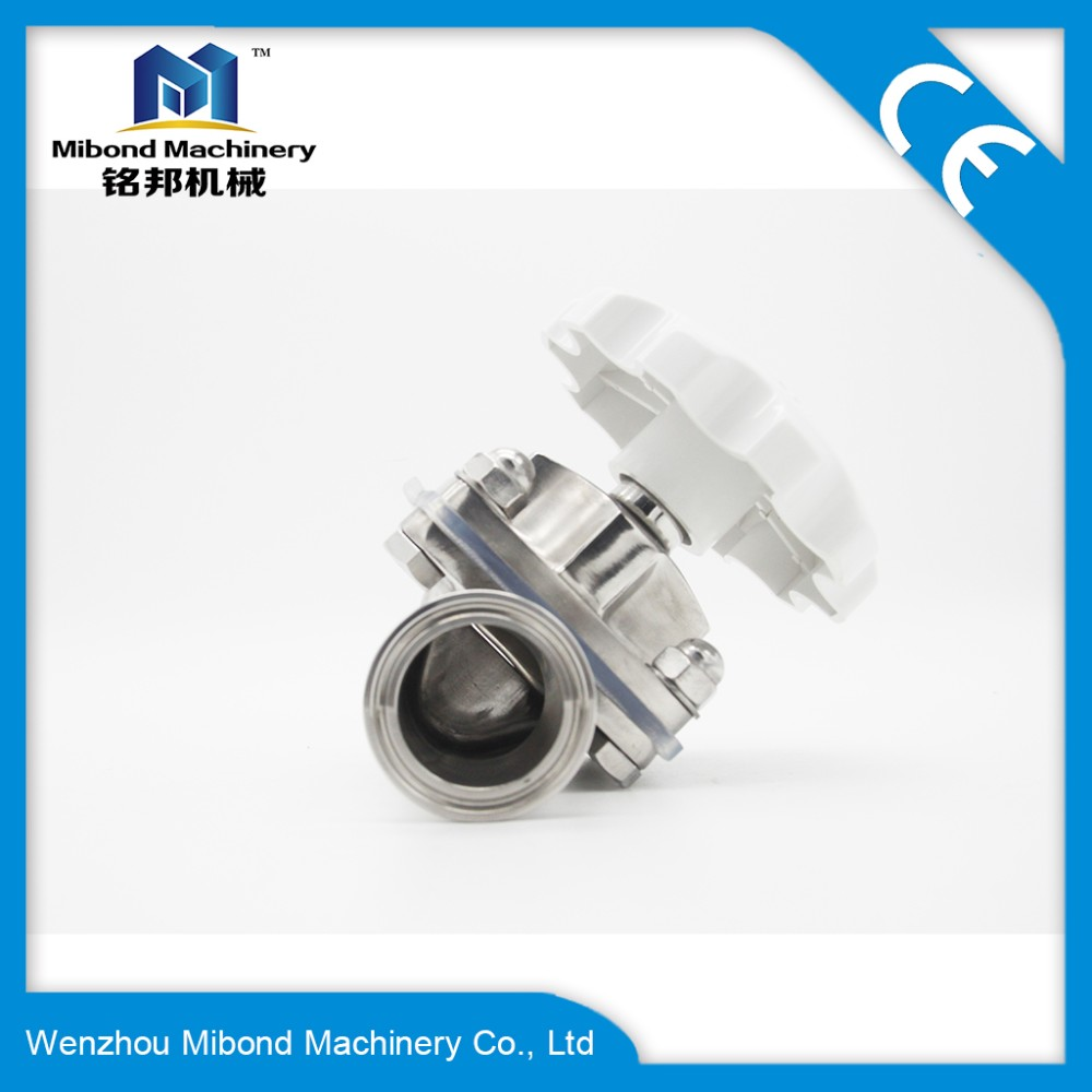China reliable manufacturer Sanitary Stainless Steel brewing PTFE control valve Diaphragm Valve