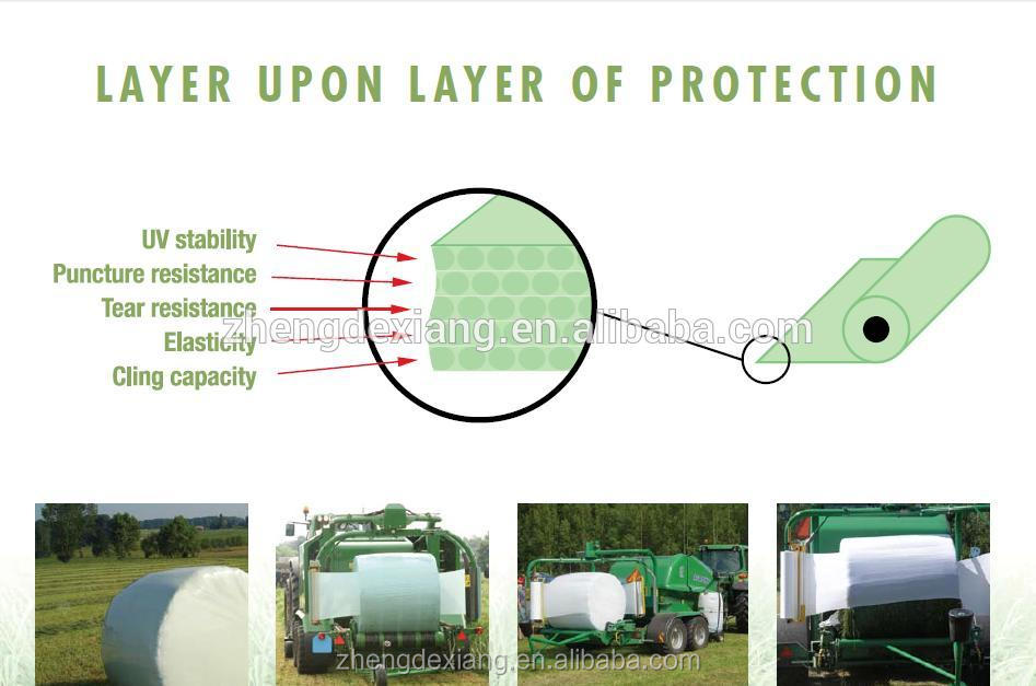 Best UV Protection Black/Green/White Silage Wrap Film for Agriculture Hay Bale Wrap