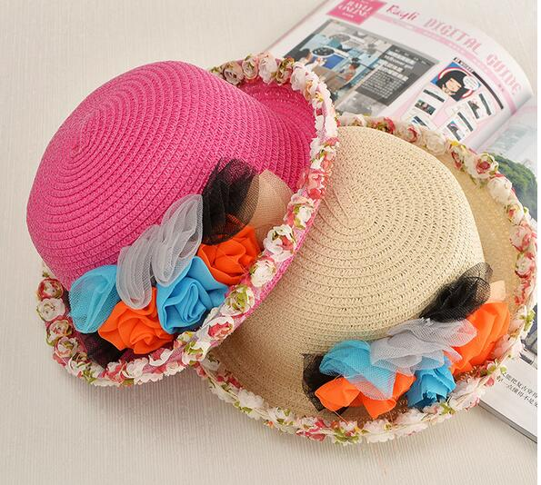 fashion children child baby kid Wide brim sombrero paper straw hat smart sand beach hat with lace and flower garland promotional