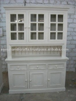 Distress Cabinet Painted Cabinet Country Hutch Rustic Glass Cabinet