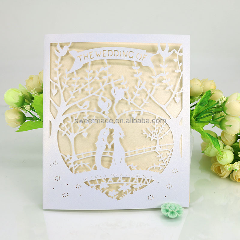 Royal personalised pocket laser cut wedding invitation card bride groom wedding card in paper <strong>crafts</strong>