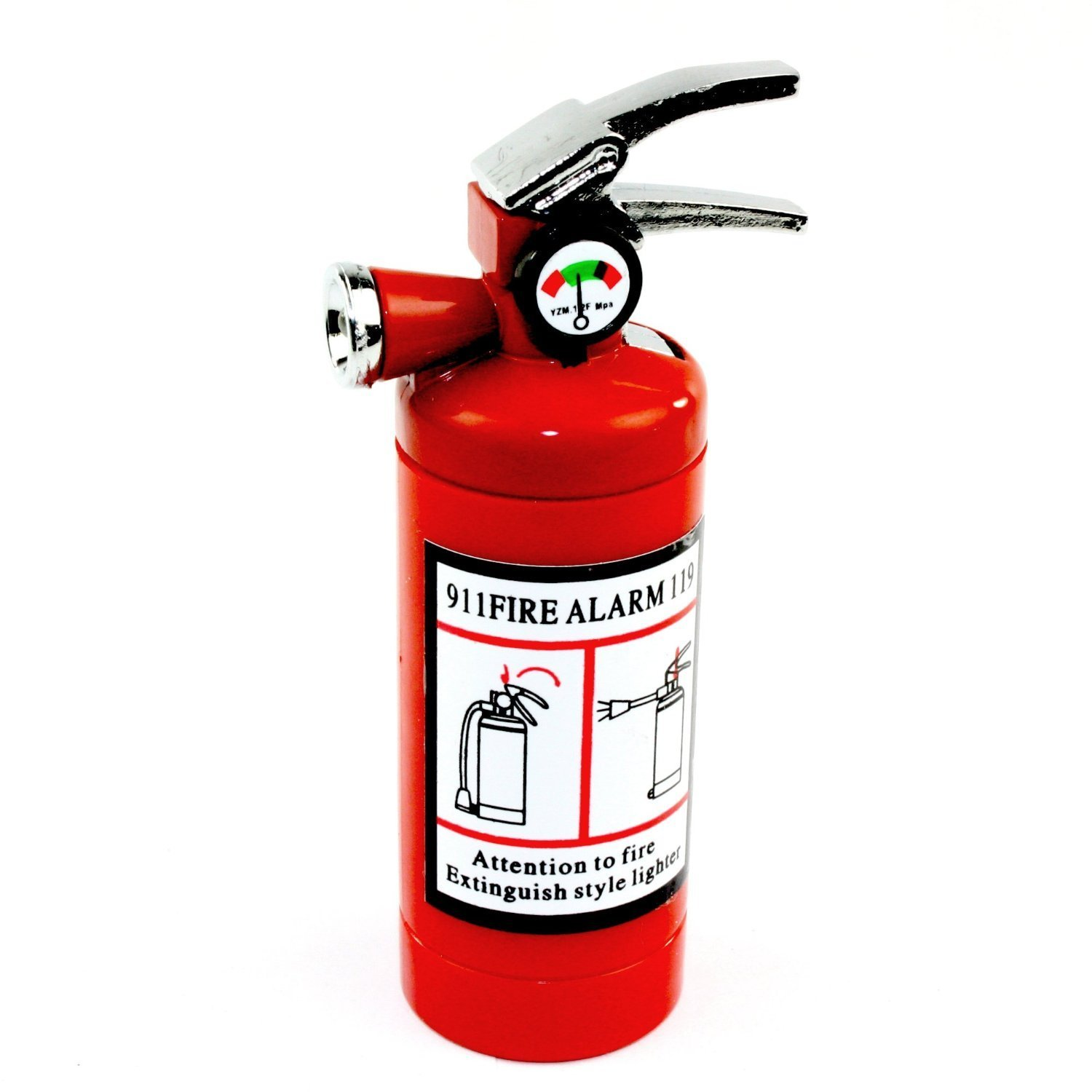 Fire Extinguisher Design Flame Lighter with LED Flashlight