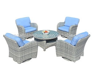 2018 Hot Sale Space Saving Outdoor Rattan Patio Modern Design Cheap Garden Wicker Balcony Swivel Dining Table and Chair