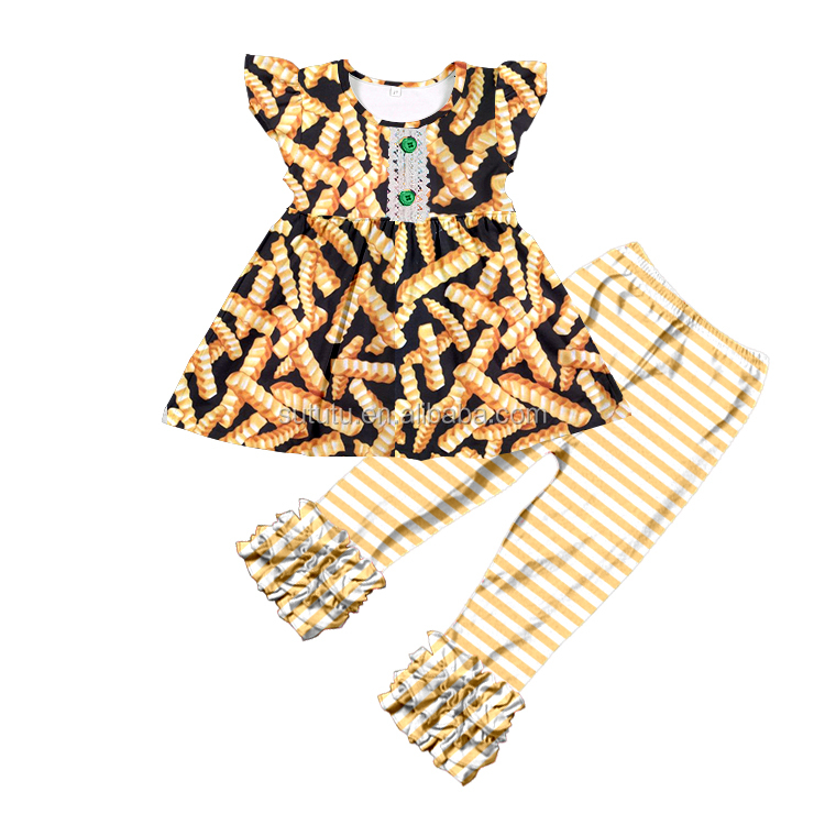 Sue Lucky Wholesale Hot Sale Fashion Baby Girl Cute Boutique Clothing Children GIrls Fall Design Outfit