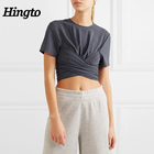 Guangzhou Hingto new arrivals 100% cotton yoga sports crop top tshirts soft womens blank gym tshirt