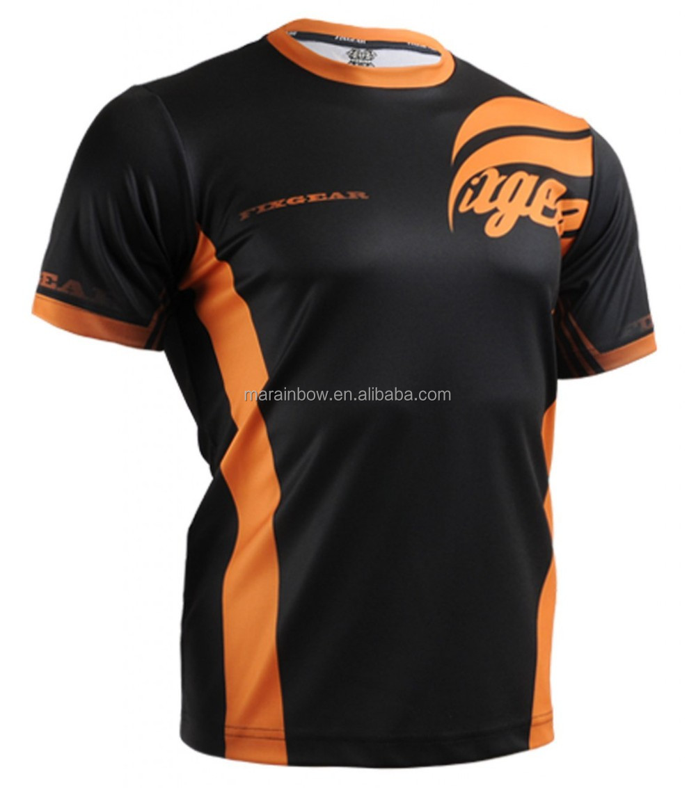 Custom made mens dry fit sports t shirts black orange for Custom dry fit shirts