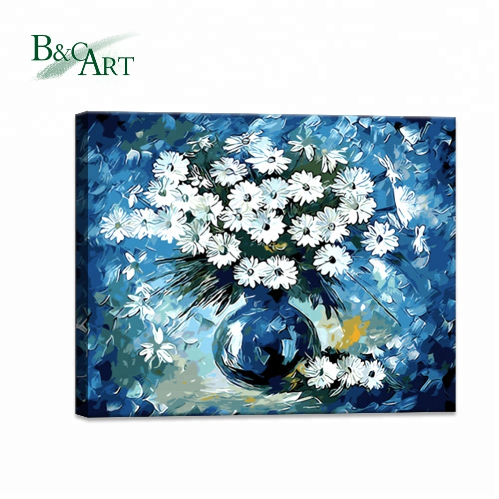 Wholesales white blue colors flower photo customized painting by numbers