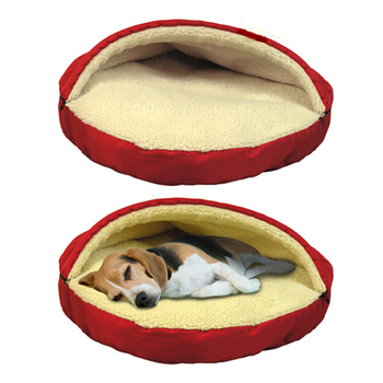 pet lambswool cozy snuggle bed thermal fleecy dog cave