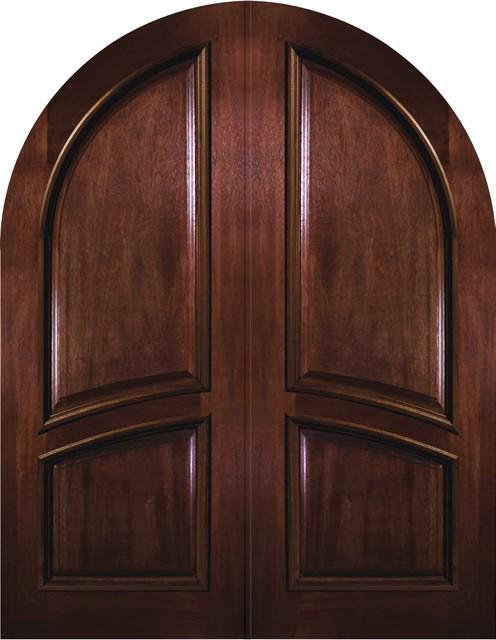 Prehung exterior double door 96 wood mahogany 2 panel for Round door design