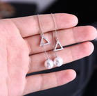 Circle Triangle Earrings Earings Geometric Lines To Circle Or Triangle Rhinestone Pearl Style Fashionable Eradrops Earrings For Ladies