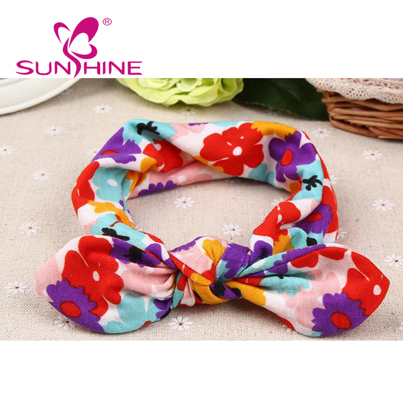 Solid Bunny Ears Baby Flower Bow Tie Headband For Girls 100% Cotton
