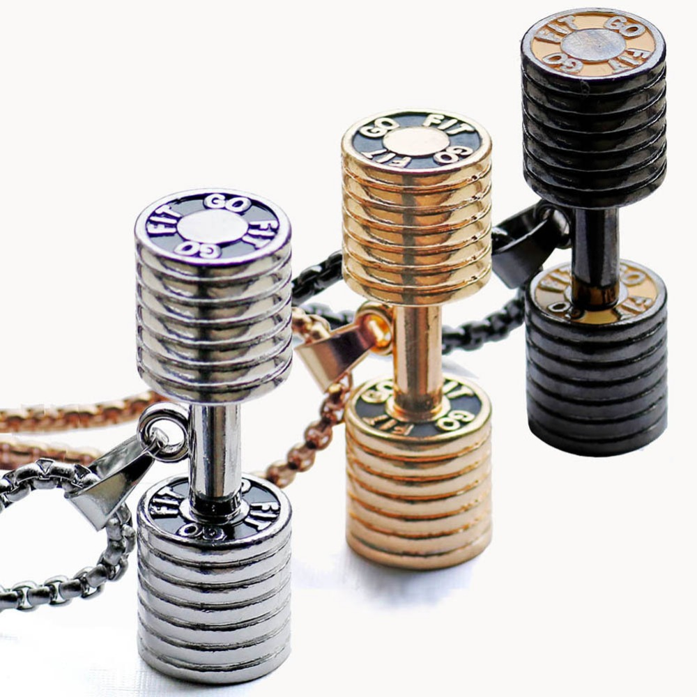 Stainless steel barbell pendant titanium steel dumbbell necklace 2017 new fitness jewelry European and American necklace hot