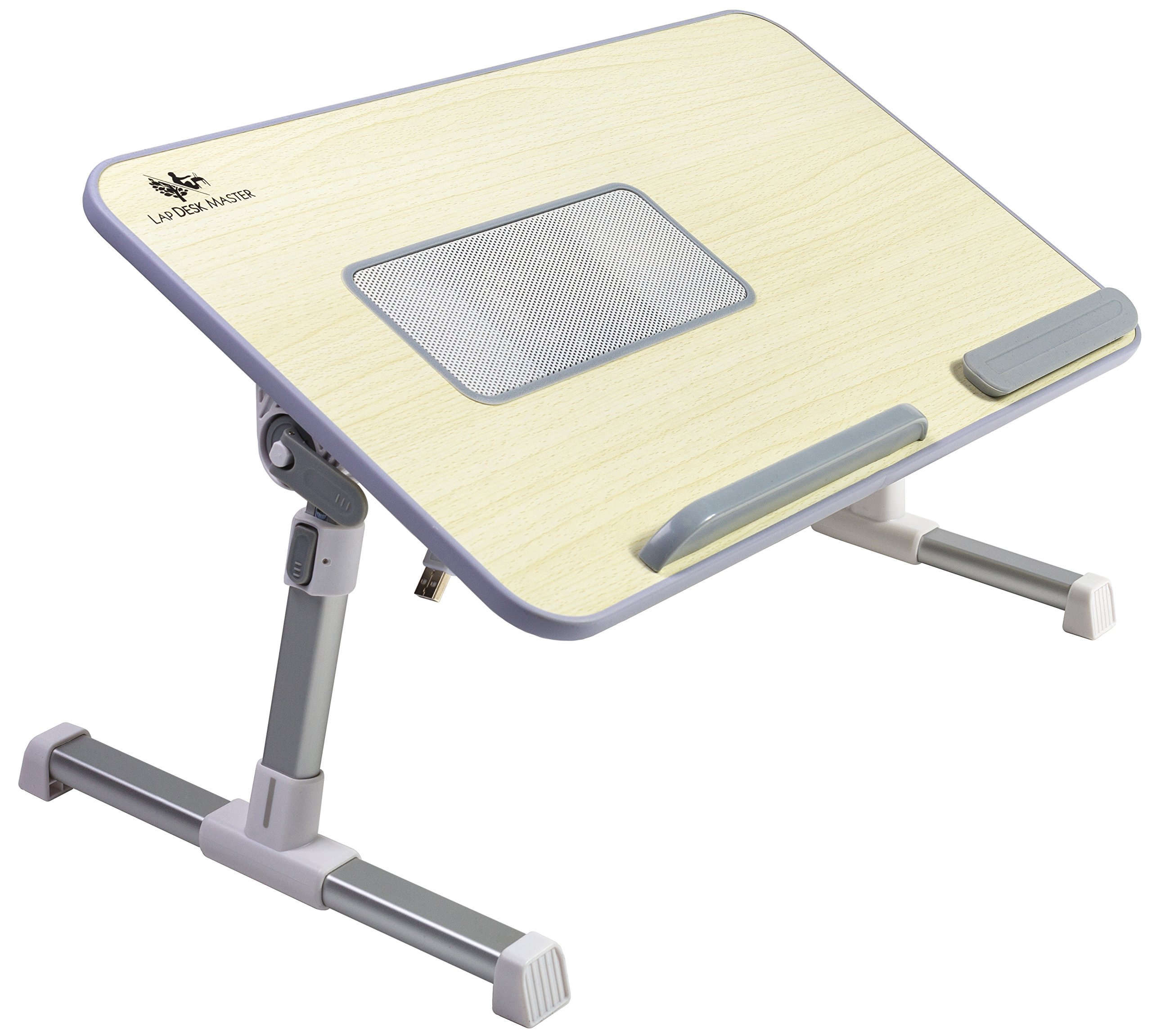 Adjustable Laptop Bed Tray Table with Cooling Fan by Lap Desk Master, Portable Laptop Couch Desk with Foldable Legs