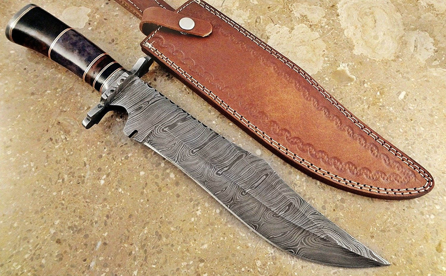 ColdLand Knives | One-of-a-Kind 15'' Custom Handmade Damascus Steel Bowie Hunting Knife HH01