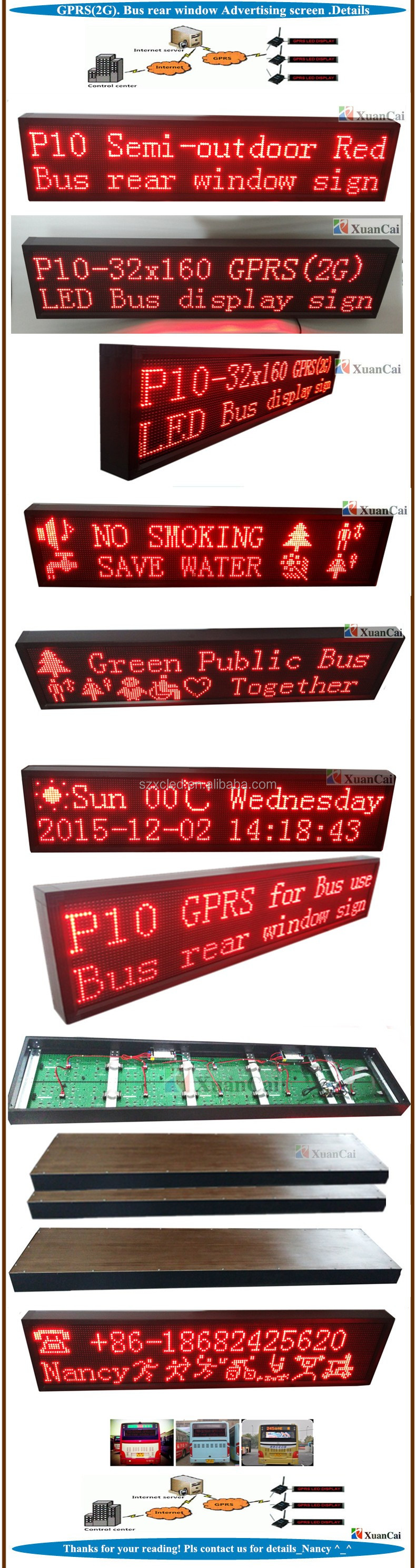 GPRS(2G) Bus rear window P10-32x160 (32x160cm) 24V Advertising LED message screen panel