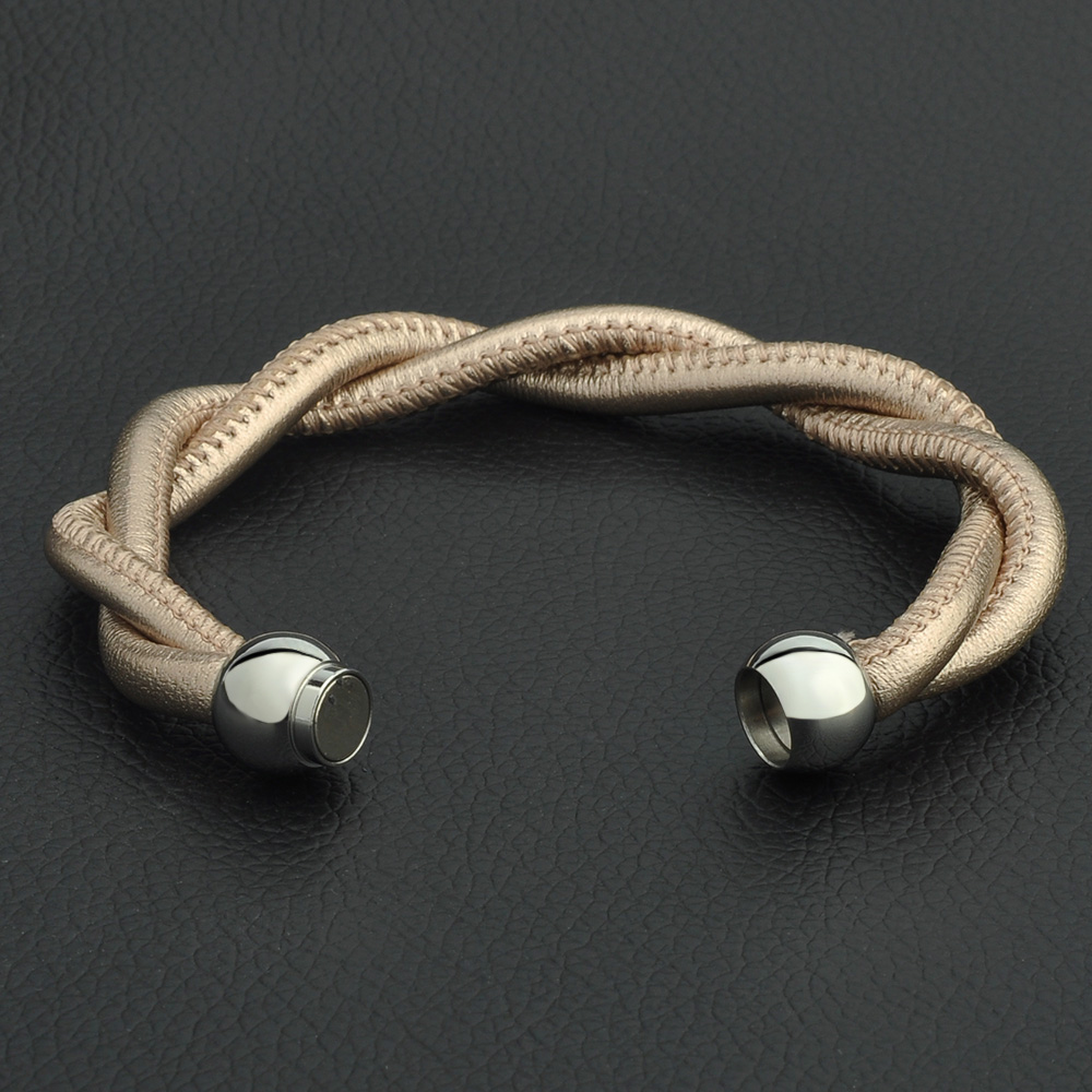High Quality Magnetic Clasp Braided Leather Women Bracelet Luxury