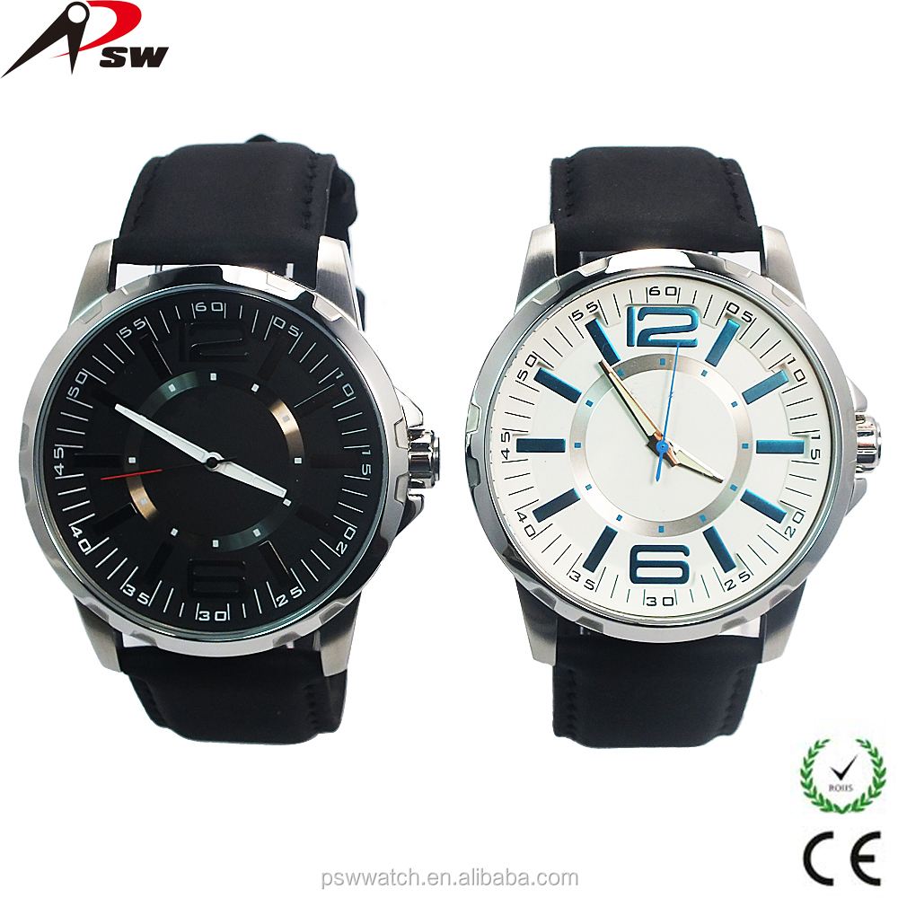 2016 Genuine leather band men's wrist watch stainless steel case womens watches