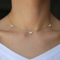 2018 new necklace women gold plated three stone link chain fashion minimal elegant women choker chains