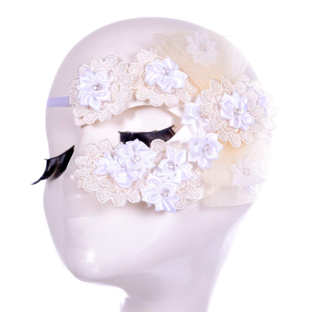 Fenical Fashional Women's Lace Eye Mask Cosplay Sexy Eye Veil for Halloween Christmas Masquerade Costume Party (White)