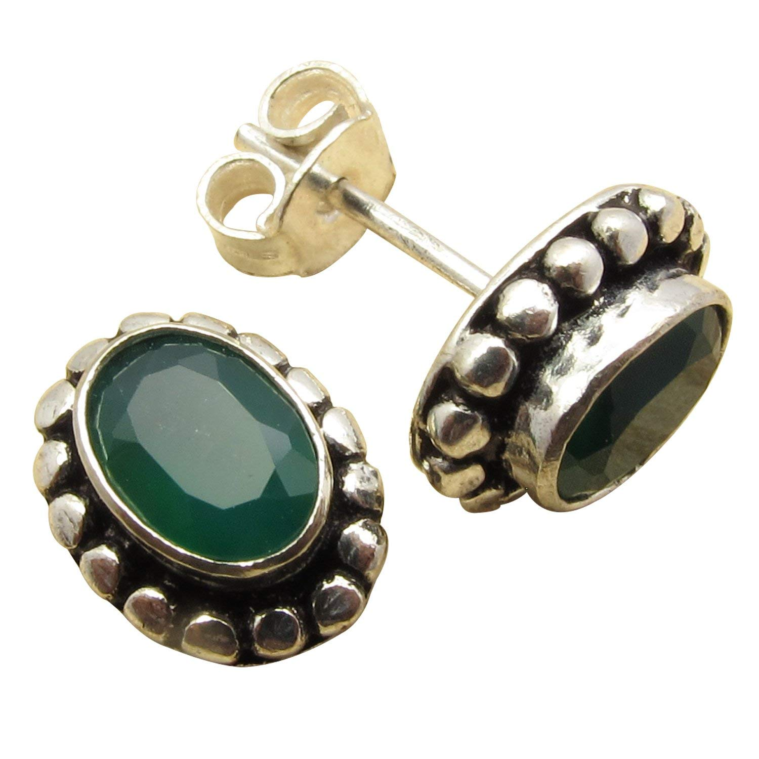 925 Sterling Silver Plated Gift !! Cut GREEN ONYX Gem STUD Earrings Factory Direct Discount Jewelry