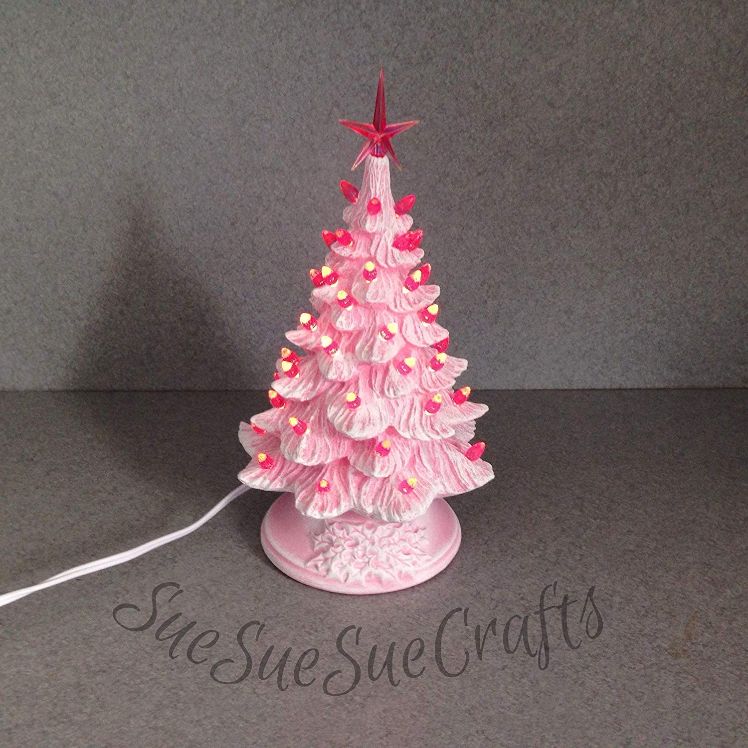 Get Quotations Medium Size Ceramic Pink Dry Brushed Lighted Christmas Tree With Small Twist Lights 11