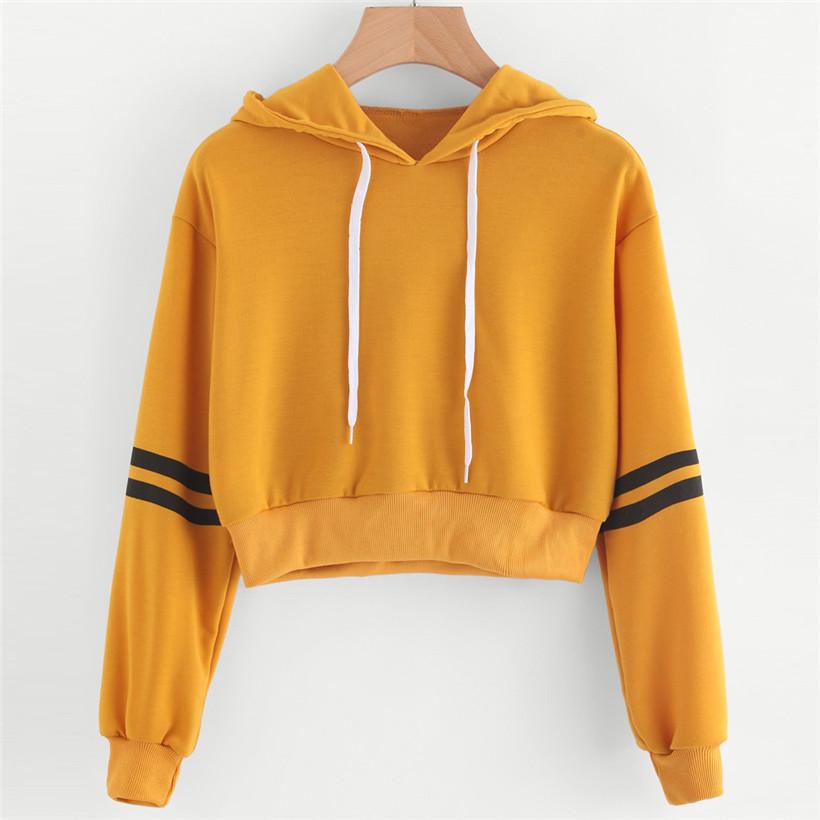3d7f99c79e Hoodies Listrado roupas Moletom Com Capuz de Impressão de Manga Comprida  Pulôver Tops Blusa Para Feminino