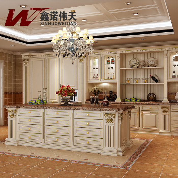 Upscale Kitchen Cabinets: Red Cherry Solid Wood Modular Kitchen Cabinet Luxury