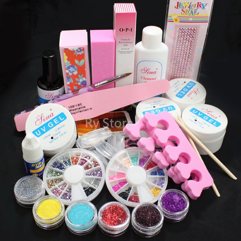 Buy 2 X PINK GLITTER BRUSH NAIL ART DUST POWDER CLEAN ACRYLIC UV GEL ...