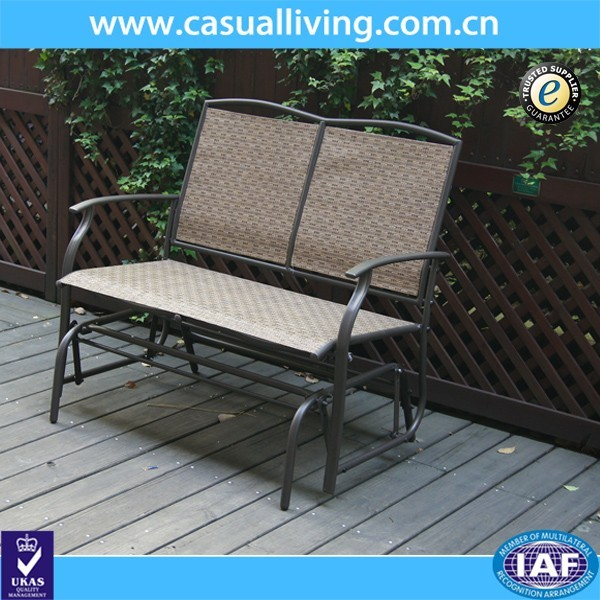 2 Seater Cast Aluminum Rocking Chair Loveseat Glider Bench In Sling Fabric Seat Amp Back For Patio