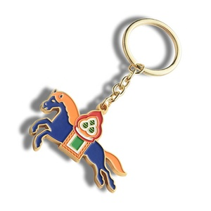 Brown Custom Logo Souvenir Oneok Personalized Horse Head Metal Keyring Horse Shape Keychain