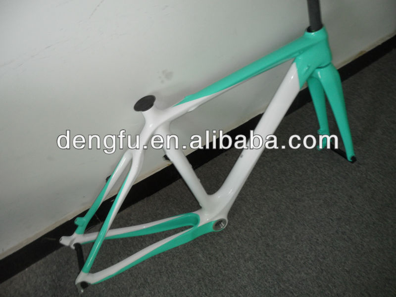 FM059 full carbon green / white cores cyclocross frame & fork do disco
