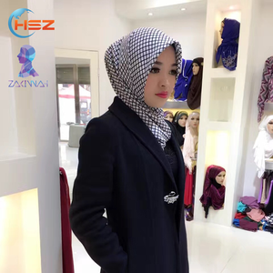 Zakiyyah V070 Black White Muslim Jakarta Hijab Manufactures Soft Patterns Hijab Jersey
