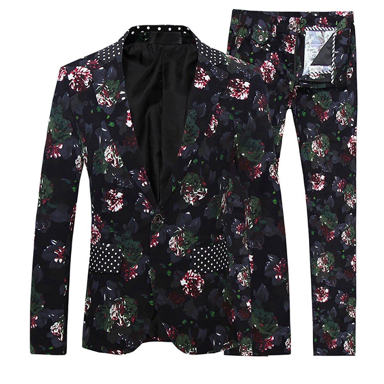 8daf02e6c5c Get Quotations · Cloudstyle Mens 2 Piece Suit Notched Lapel Sport Coat  Floral One Button Slim Fit Tweed Suit