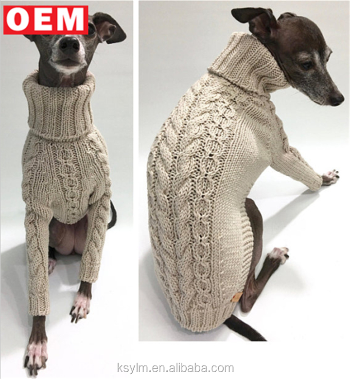 Ylm Custom Design Handmade Italian Pet Pink Knit Sweater Greyhound