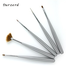 Silver Grey 5pcs Short Professional Manicurer Recommend Nail Hair Brush Set