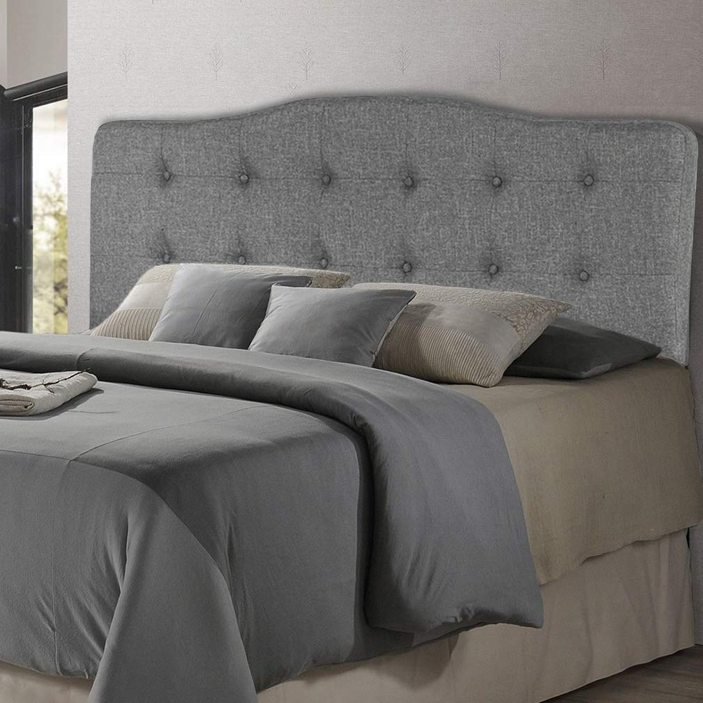 Headboard Fabric Upholstered Headboard with Heavy Duty with Full/Queen Size Nailheads Modern Linen Tufted Button,Gray